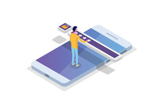 Data Access, Password Isometric Concept. Login Form On Screen. Vector Illustration.