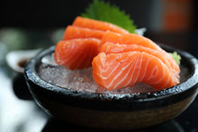 Salmon Sashimi On Ice Japanese...
