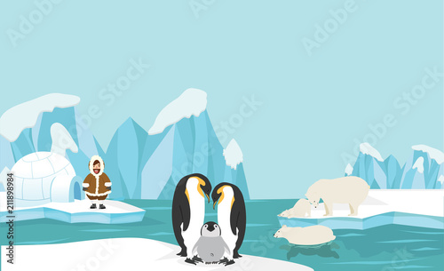 Photo Animals and people of North pole Arctic landscape background