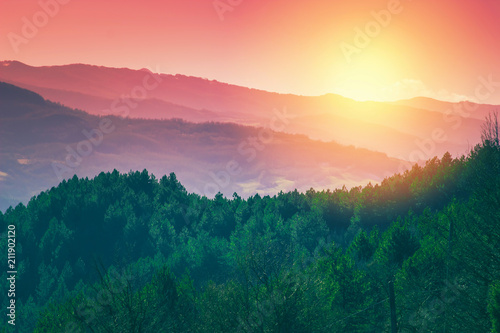 Scenic sunset landscape of Apennine mountains, Italy Wallpaper Mural