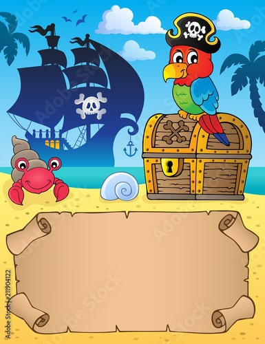 Staande foto Voor kinderen Small parchment with pirate parrot