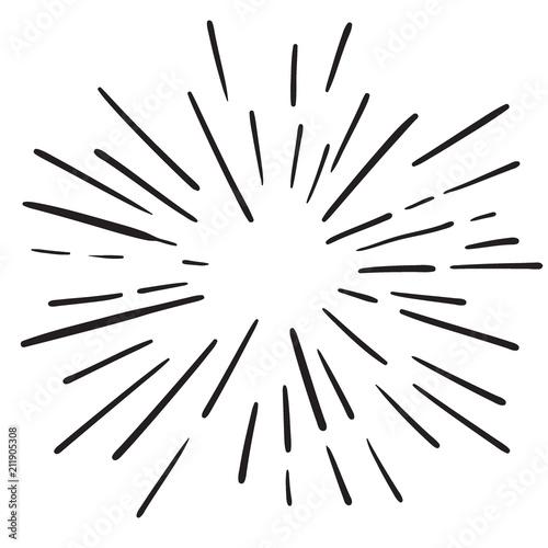 Obraz Vintage Hand Drawn Design Element Fireworks Black Rays - fototapety do salonu