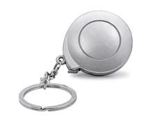 Steel Key Chain Isolated On White Background. Blank Keyring In Measuring Tape Concept. ( Clipping Path )