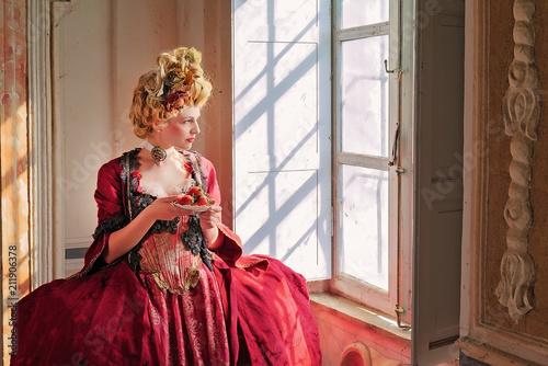 Ragazza con Vestiti Rinascimentali 1600 Canvas Print