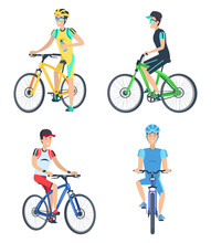 Bicyclists Wearing Costumes Vector Illustration