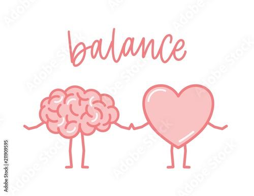 Cuadros en Lienzo Cute pink brain and heart holding hands