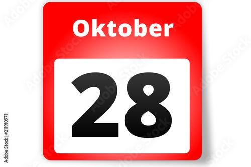 Obraz na plátne  28 Oktober Datum Kalender auf weißem Hintergrund
