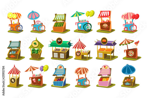 Fotografia Colorful street cart shop set, retail kiosk on wheels vector Illustrations on a
