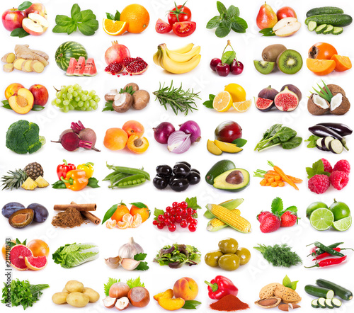 Foto op Plexiglas Vruchten Collection of fresh fruits and vegetables