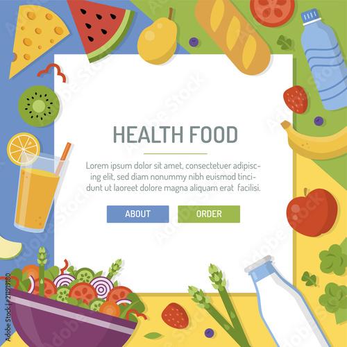 healthy food banner milk water salad bread cheese juice