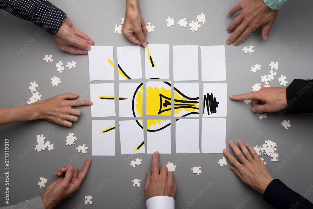 Fototapeta Conceptual for brainstorming and teamwork