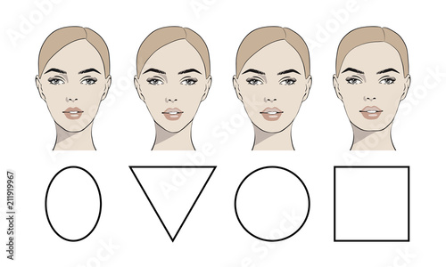 Cuadros en Lienzo Set of vector face shapes