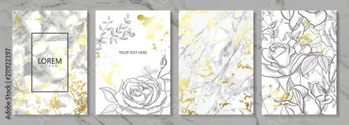 Luksusowe karty kolekcja z marmurową złotą teksturą i pociągany ręcznie kwiatami. Wektorowy modny tło. Nowożytny set abstrakcjonistyczna karta, szablon, plakaty, invitational