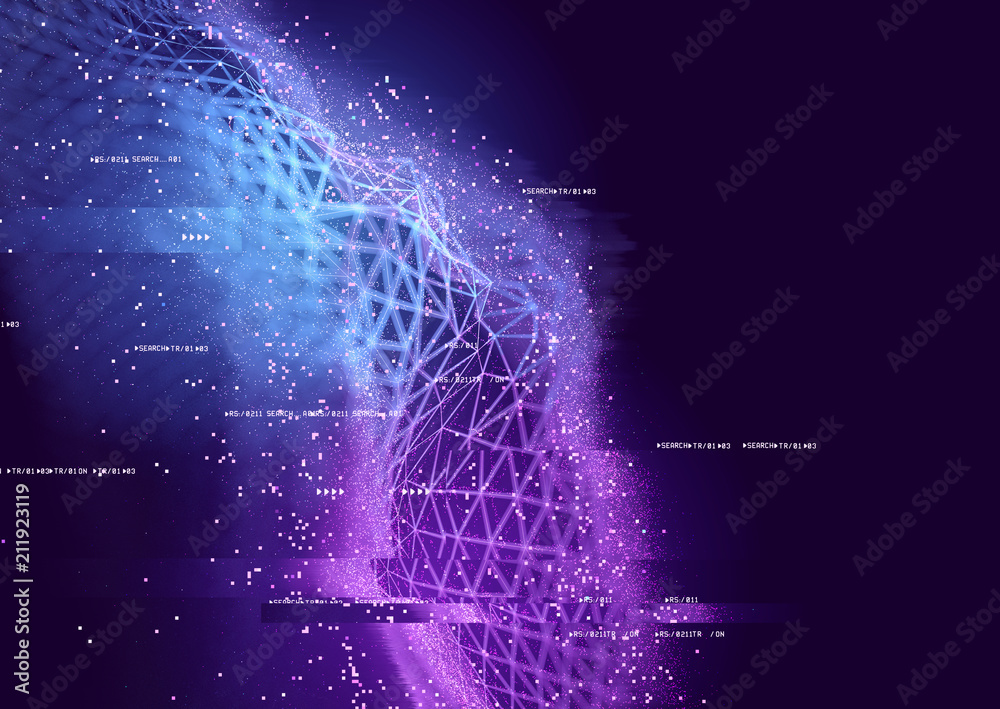 Fototapety, obrazy: Abstract visual of data connections. Technology background - 3D illustration