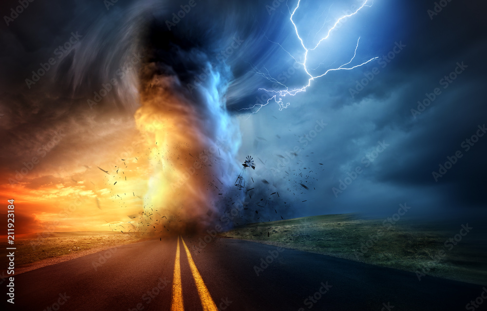 Fototapety, obrazy: A dramatic storm at sunset producing a powerful tornado twisting through the countryside with sheet lightning. Landscape mixed media illustration.