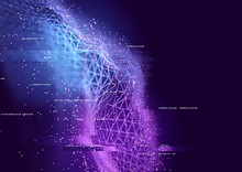 Abstract Visual Of Data Connections. Technology Background - 3D Illustration