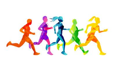 Skupina trkaćih muškaraca i žena koji se natječu i ostaju u formi. Šarene teksture silueta ljudi. Vektorska ilustracija.