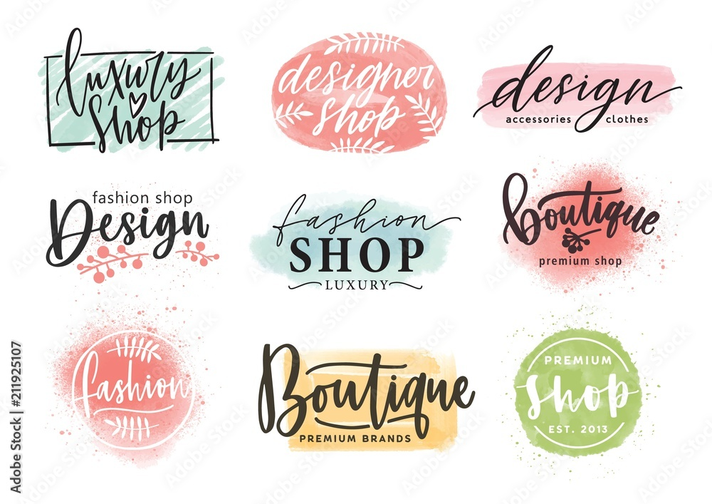 Fototapety, obrazy: Collection of beautiful lettering hand drawn with elegant cursive font against colorful stains on background. Vector illustration for fashion boutique logo, apparel store or designer shop logotype.