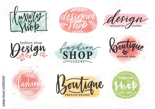 Obraz Collection of beautiful lettering hand drawn with elegant cursive font against colorful stains on background. Vector illustration for fashion boutique logo, apparel store or designer shop logotype. - fototapety do salonu