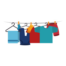 Clothes Drying On Wire Vector ...