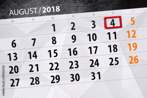 calendar planner for the month deadline day of the week 2018 august 4