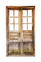 An Old Wooden Double Door Isol...