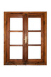 canvas print picture - Interior view of a wooden window isolated on white background