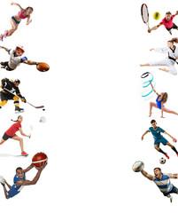 FototapetaSport collage about kickboxing, soccer, american football, basketball, ice hockey, badminton, taekwondo, tennis, rugby