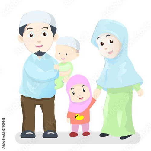 Happy Muslim Family Cartoon Vector Illustration Buy This Stock Vector And Explore Similar Vectors At Adobe Stock Adobe Stock