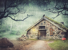Fairy Old Stone House In Fantasy Forest With Fog
