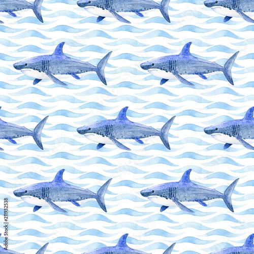 Naklejka premium Wieloryb akwarela rastrowy wzór.
