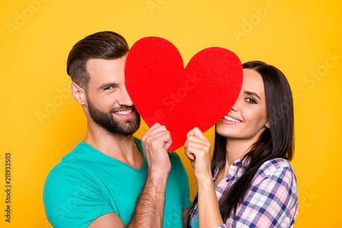 Portrait of lovely cheerful couple looking out big carton paper heart figure having beaming smiles isolated on bright yellow background Wallpaper Mural