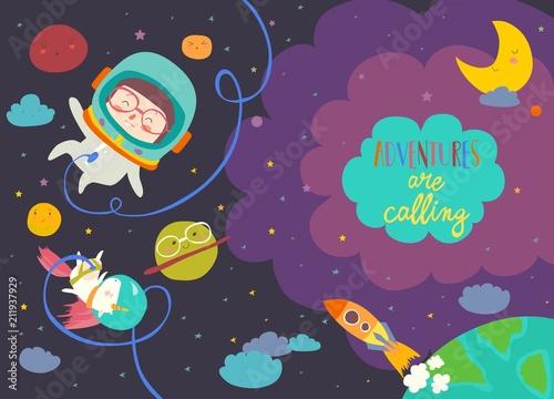 Dziewczyna astronauta z jednorożcem