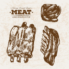 Hand drawn sketch meat products set