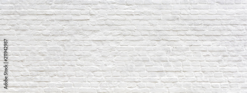Poster Wand White painted old brick Wall panoramic background