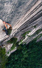 Young Man Climbing Up Rock Face, 'the Grand Wall', The Chief, Squamish, Canada, High Angle View