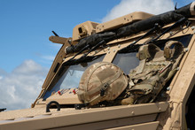 Cabin Of RAF Military Vehicle With Regiment Soldiers Helmet.
