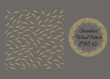 Vector Illustration. Seamless Wheat Pattern And A Wheat Wreath On The Brown Background.