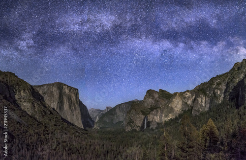 Are the Stars Out Tonight - Milky Way over Moonlit Yosemite Valley Canvas Print