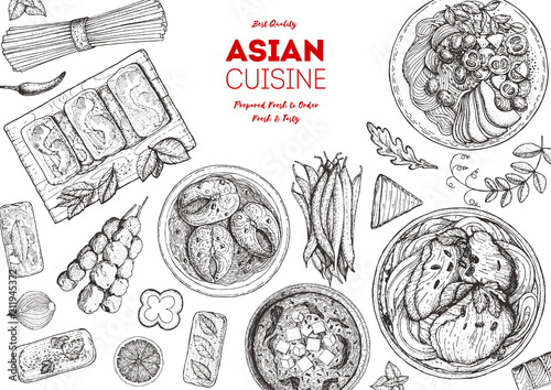 Asian cuisine sketch collection Canvas Print