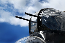 Nose Turret Of Lancaster Bomber With Twin 0.303 Machine Guns.