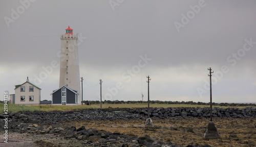 In de dag Stad aan het water Faro a Reykjavik in Islanda