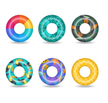 Set Of Colorful Inflatable Swim Rings