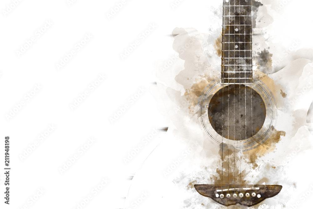 Streszczenie kolorowe gitara na pierwszym planie na tle akwarela malarstwo i cyfrowy ilustracja szczotki do sztuki.