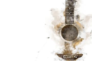 Sažetak šarene gitare u prvom planu na pozadini slikanja akvarelom i četkom za digitalnu ilustraciju umjetnosti.
