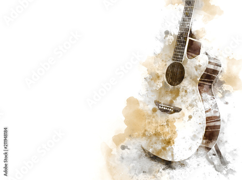 Abstract colorful Guitar in the foreground on Watercolor painting background and Digital illustration brush to art Fototapete