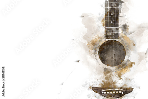 Fotografie, Tablou Abstract colorful Guitar in the foreground on Watercolor painting background and Digital illustration brush to art
