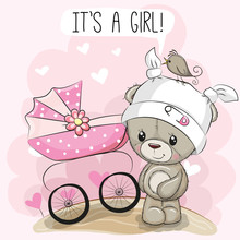 Greeting Card It Is A Girl With Baby Carriage And Teddy