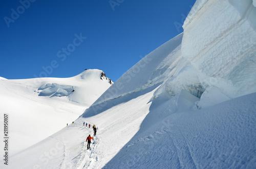 Valokuva  Seracco con alpinisti sul Monte Rosa (verso Capanna Margherita)