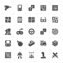 Icon Set - Game And Toy Filled Icon Style Vector Illustration On White Background